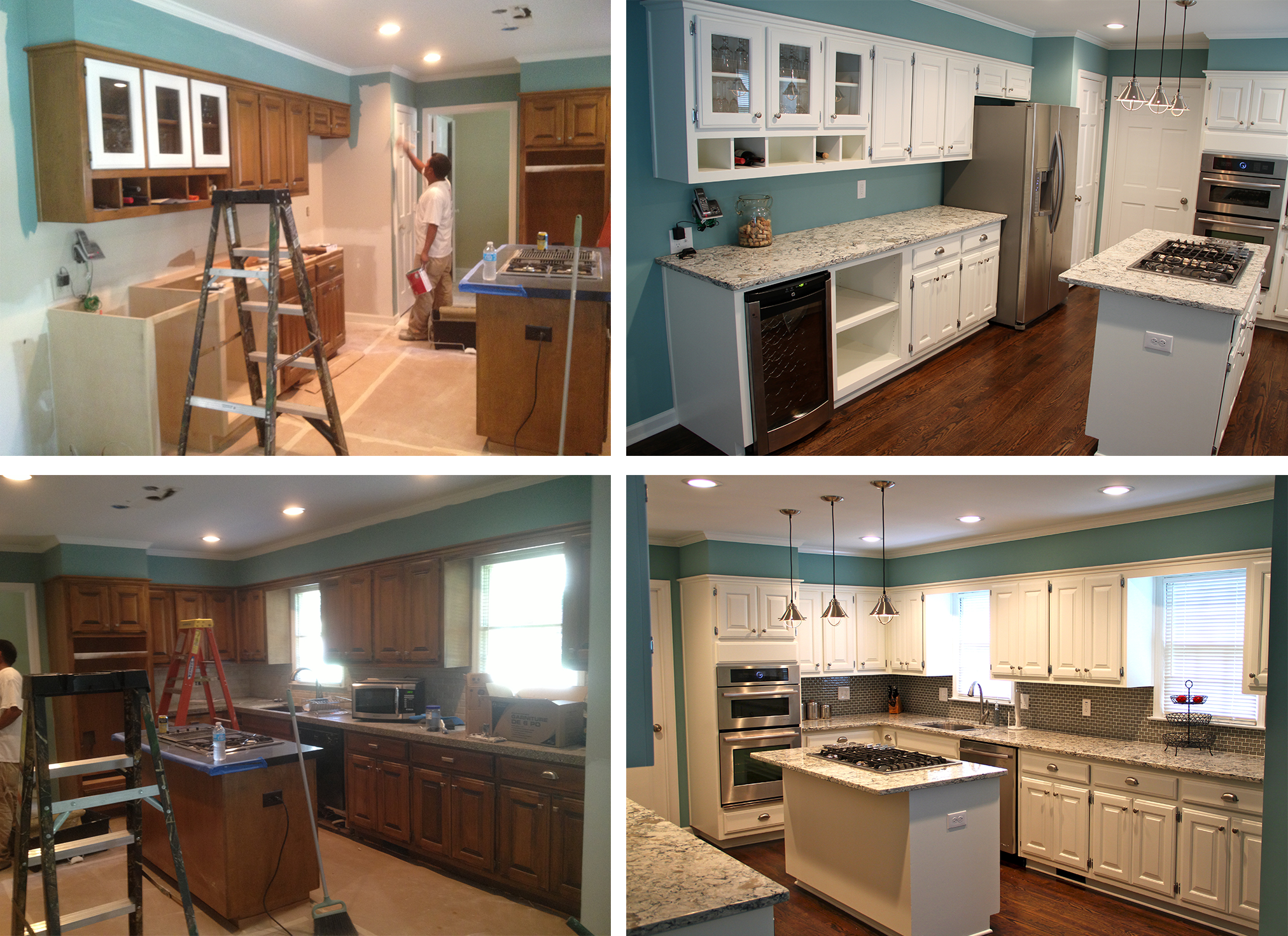 Teal walls and white cabinetry